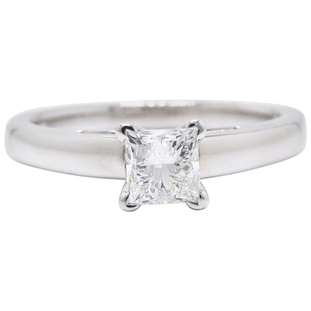 Leo Diamond Solitaire Engagement Ring Princess Cut 0.71ct H I1 14 Karat Gold