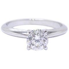 Leo Diamond Solitaire Engagement Ring Round 0.98 Carat H SI2 14 Karat White Gold