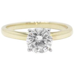 Leo Diamond Solitaire Engagement Ring Round Cut 0.99 CTS H VS2 14K Yellow Gold