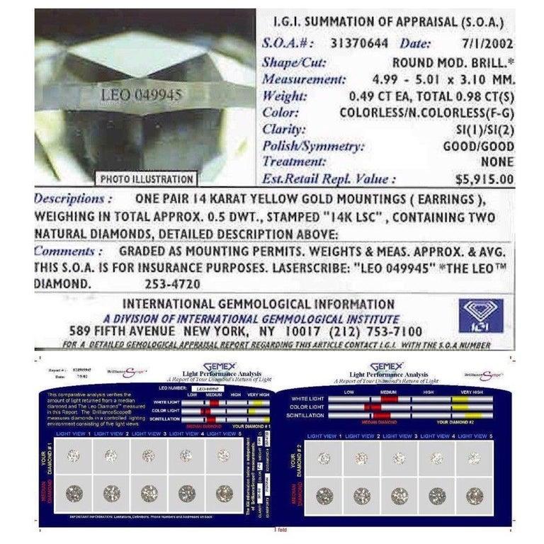 Leo Diamond Stud Earrings Rounds 0.98 Carat F-G SI 14 Karat White Gold For Sale 6