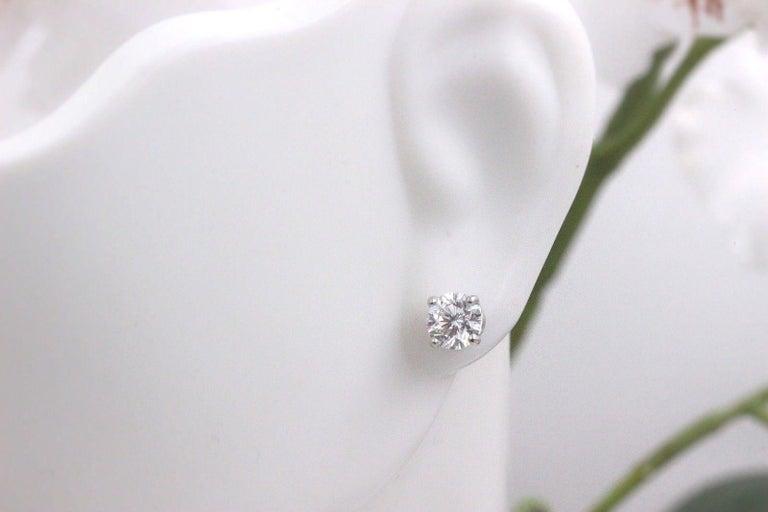 Leo Diamond Stud Earrings Rounds 0.98 Carat F-G SI 14 Karat White Gold For Sale 2