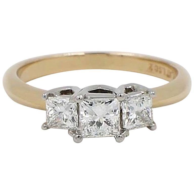 7621e0d6b Leo Diamond Three-Stone Princess Cut 1.04 Carat G-H SI1-SI2 Ring 14 Karat
