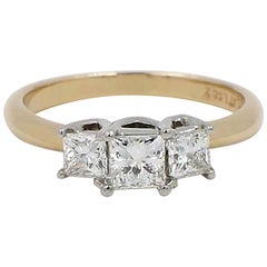 Leo Diamond Three-Stone Princess Cut 1.04 Carat G-H SI1-SI2 Ring 14 Karat Gold