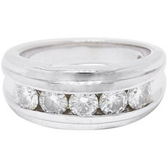 Leo Diamond Wedding Band Round Cuts 1.75 Carat I SI2 14 Karat White Gold