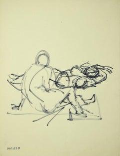Figure - Original Marker Drawing on Paper - 1970s