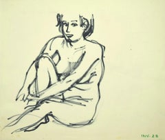Nude - Original Marker Drawing on Paper - Late 20th Century