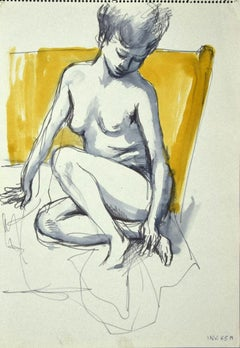 Nude - Original Mixed Media Drawing on Paper - 1970s