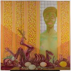 Butcher's Shop - Original Oil Paint on Canvas by Leo Guida - 1983