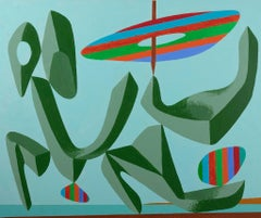 Green Composition - Original Acrylic Paint by Leo Guida - 1980s