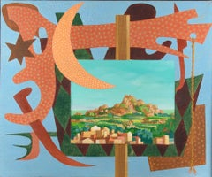 Italian Landscape with Signals - Original Oil on Canvas by Leo Guida - 1984