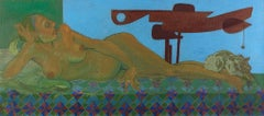 Lying Nude with Signals 1 - Original Oil Paint on Canvas by Leo Guida - 1988
