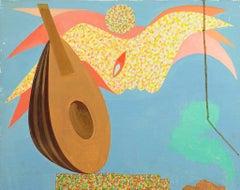 Mandolin - Original Oil Paint on Canvas by Leo Guida - 1970s