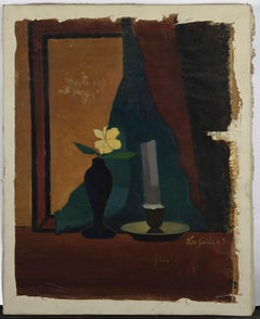 Still Life - Original Oil Paint on Canvas by Leo Guida - 1960s