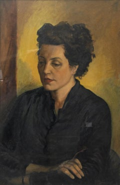 Thinking Woman - Original Oil on Panel by Leo Guida - 1951