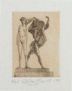 Venus and Hercules - Original Etching on Paper by Leo Guida - 1979