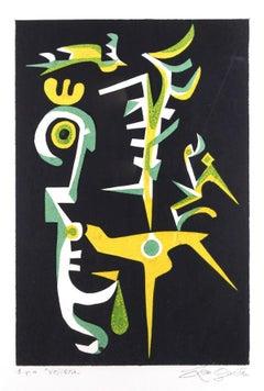Aviary - Original Screen Print by Leo Guida - 1994