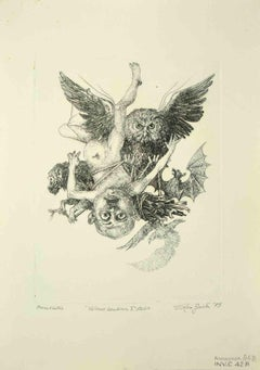 Baby Vulcan, 1st state - Original Drawing by Leo Guida - 1975
