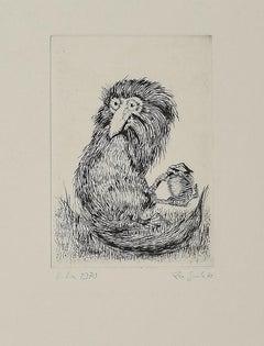 Bird - Original Etching on Paper by Leo Guida - 1970