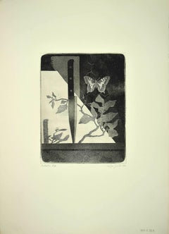 Butterfly and Knife - Original Etching by Leo Guida - 1970