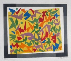 Composition - Original Etching on Carboard by Leo Guida - 1970s