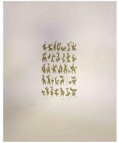 Composition  - Original Print by Leo Guida - 1975