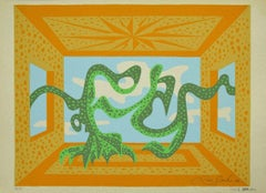 Composition - Original Screen Print on Paper by Leo Guida - 1970s