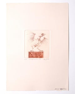 Cuckoo Clock - Original Etching by Leo Guida - 1971