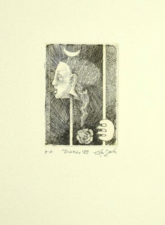 Diana  - Original Etching on Paper by Leo Guida - 1989
