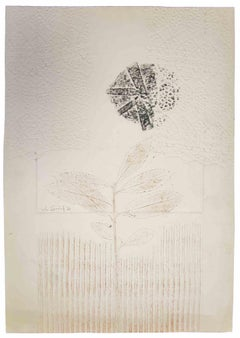 Floral Print - Original Etching and Embossig by Leo Guida - 1971