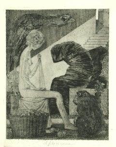 Il Filo si Spezza - Original Etching on Paper by Leo Guida - 1970s