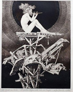 Il Pastore Dafne nella Valle dei Templi - Original Etching by Leo Guida - 1975