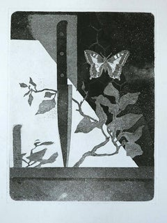 Knife and Butterfly - Original Etching by Leo Guida - 1970