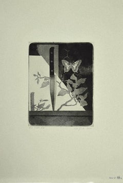 Knife and Butterfly - Original Etching on Paper by Leo Guida - 1970