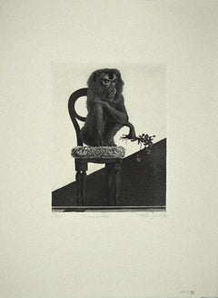 Monkey on the Chair - Original Etching on Paper by Leo Guida - 1972