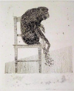 Monkey - Original Etching by Leo Guida - 1973