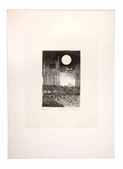 Night Landscape - Original Etching by Leo Guida - 1970