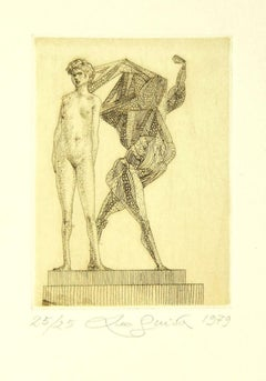 Nude and Creature - Original Etching by Leo Guida - 1979