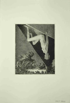 Nude Sybil - Original Etching by Leo Guida - 1972