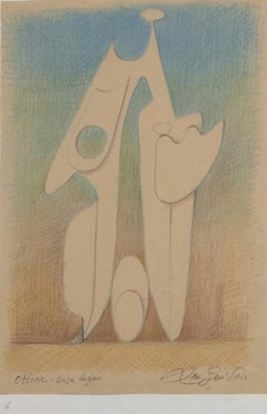 Ottone Base Legno - Study for a Sculpture - Drawing by Leo Guida - 1980s