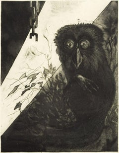 Owl - Original Etching by Leo Guida - 1972