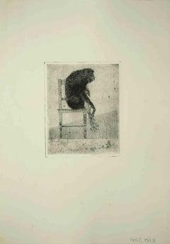 Seated Monkey - Original Etching by Leo Guida - 1975