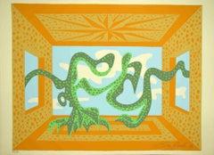 Signal - Original Lithograph by Leo Guida - 1984