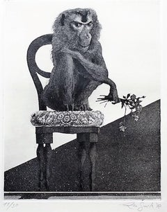 Sitting Monkey - Original Etching by Leo Guida - 1972