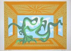 Teatrino 2 - Original Screen Print and Embossing by Leo Guida - 1984