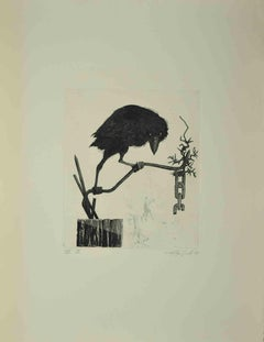 The Crow - Original Etching by Leo Guida - 1972