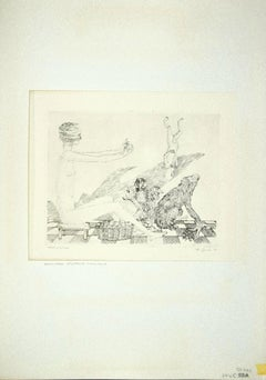 The Fortune-Teller and Various Animals - Original Etching by Leo Guida - 1972