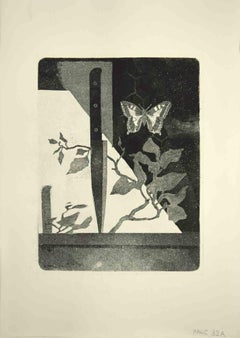 The Knife and Butterfly - Original Etching by Leo Guida - 1970s
