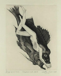 The Legend of Colapesce  - Original Etching by Leo Guida - 1972