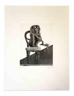 The Monkey - Original Etching by Leo Guida - 1972