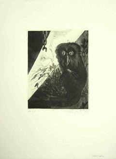 The Owl - Original Etching by Leo Guida - 1972